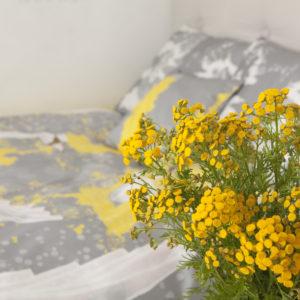 Voodipesu komplekt Luiged kollases; Bedding set Swans in yellow; Bettgarnitur Schwäne in gelb