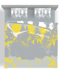 Voodipesukomplekt Luiged kollases; bedding set Swans in yellow; Bettwäsche Set Schwäne in gelb